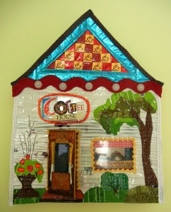 "Coffee House, by Eleanor Levie, 15""x19.5""x 2"""
