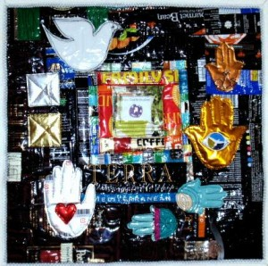 """Tahrire Square, by Eleanor Levie, 16"""" square, 2011; in the collection of Meg Cox"""