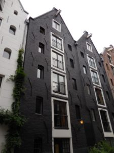 A very old building in Amsterdam, in the Netherlands.